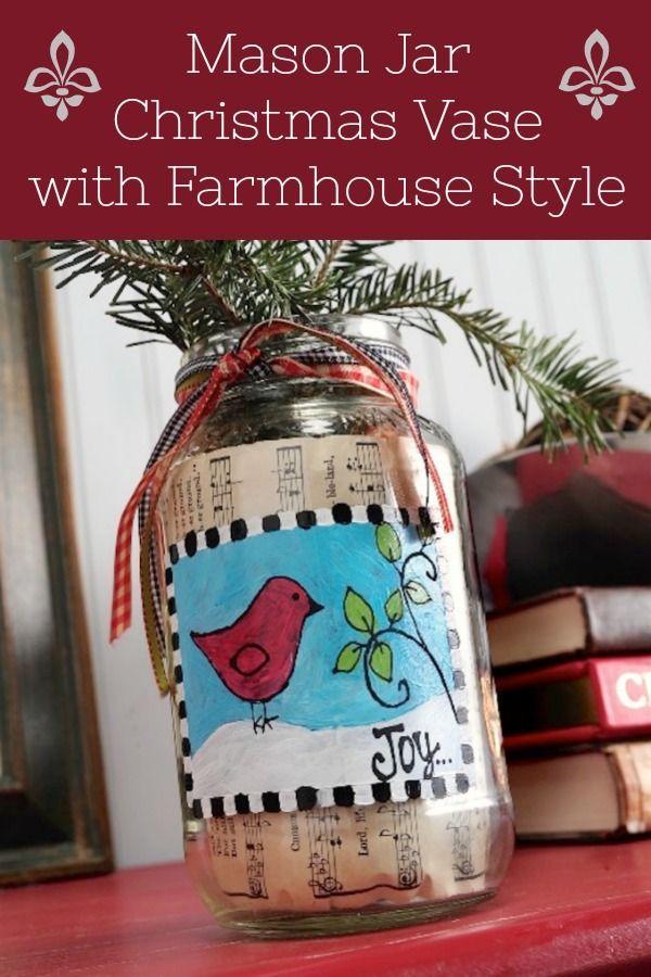 Mason Jar Christmas Vase For Farmhouse Decor Mod Podge Rocks Christmas Jars Christmas Vases Christmas Mason Jars