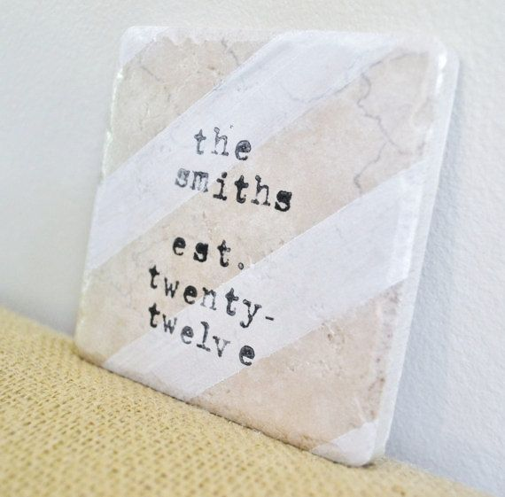 Personalized Wedding Gift-Custom Coasters-Watercolor Stripes-Unique Wedding Gift by burlap and blue   >>really cute gift ideas!!!!  love her style!