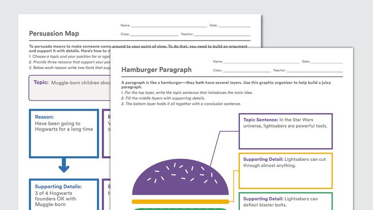 These free graphic organizers can help kids break writing assignments into smaller steps. Each printable template comes with a filled-in example.