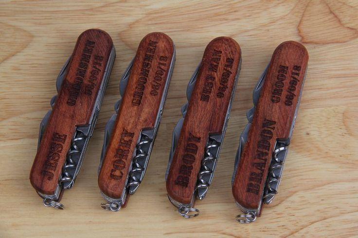 8 Custon Wooden Pocket Knife Set, Personalized Knifes, Groomsmen Gifts, Customized Knife, Groomsmen Knife, Engraved Knifes $66.88