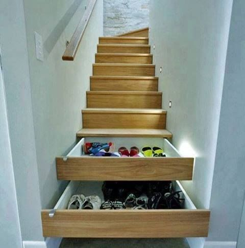 stairs as a drawers. graet storage ideas