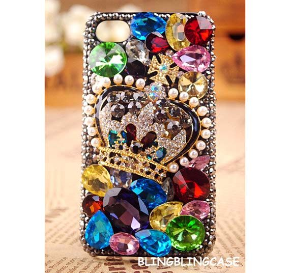 iPhone 4 case, Colorful diamond Vintage iPhone 4S Case, Luxury crown unique iphone 4 case, Bling iphone 4 case cover