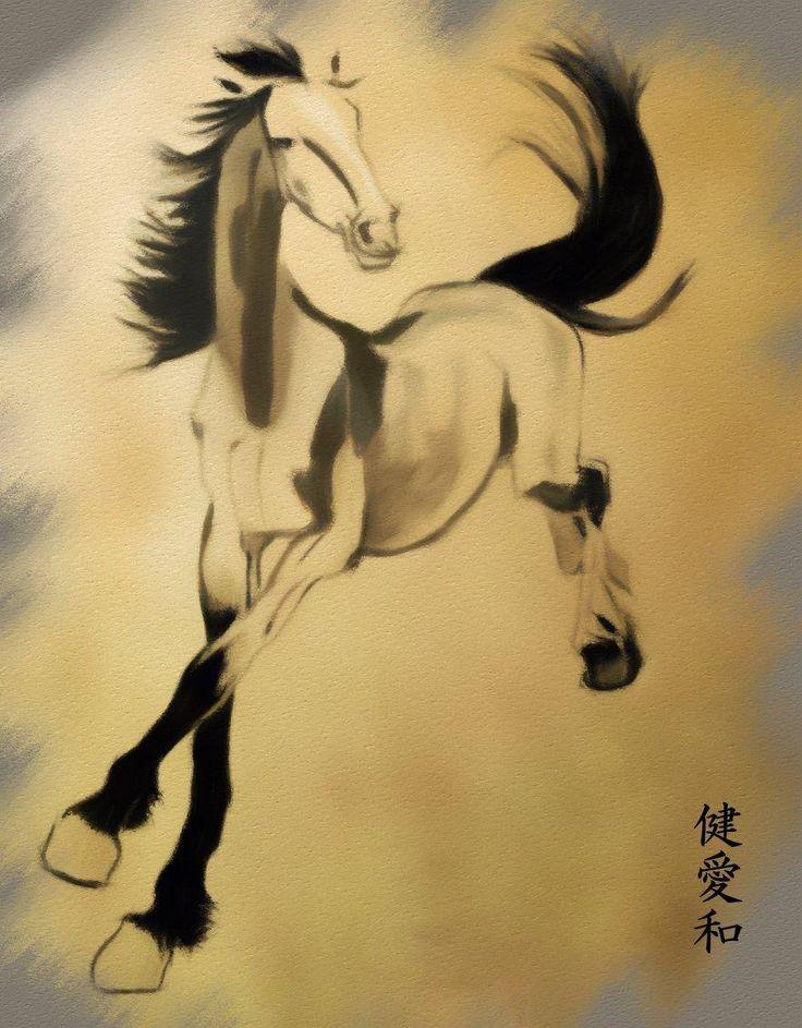 By Rebekah Gregory, tribute to Xu Beihong; pencil and digital mixed media
