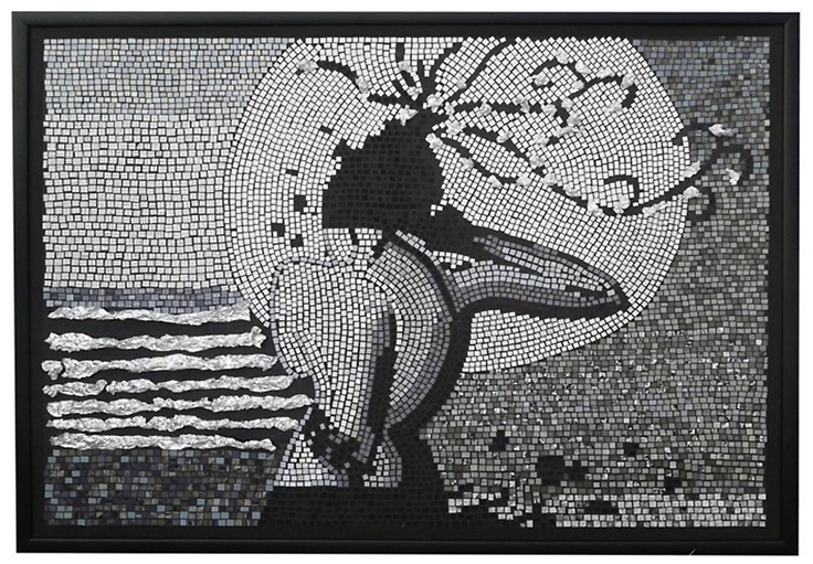 Mystery lady, paper mosaic collage from magazine pages, 1 m X 70 cm, black, white  aluminium foil