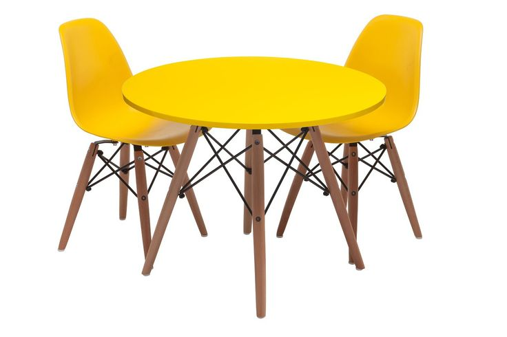 Replica Kids Eames Table and Chairs Package -- in white  The table legs are solid beech wood, with an MDF table top in a gloss finish available in many stunning colours. The kids Eames chair replica's are made from ABS plastic, and have beech ...