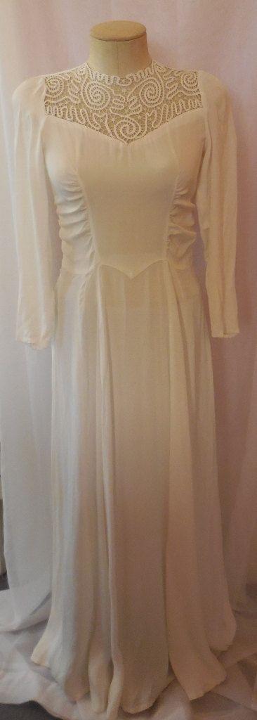 Jahrgang der 1930er Jahre lange Cream Kleid Hochzeit Kleid