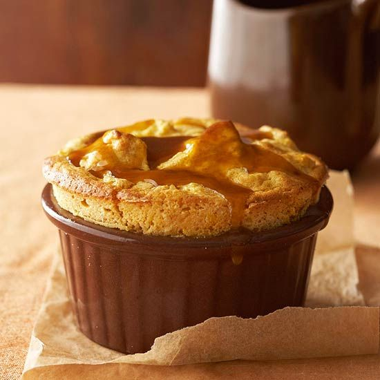 Pumpkin Bread Pudding Souffle with Bourbon Molasses Sauce