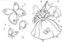 Фея - скачать и распечатать раскраску. Раскраска Маленькая фея, бабочки, фонарик, крылышки за спиной феи, раскраска фея