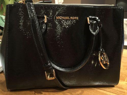 NWT-Authentic-Michael-Kors-medium-patent-leather-Sutton-BLACK-Handbag-Satchel