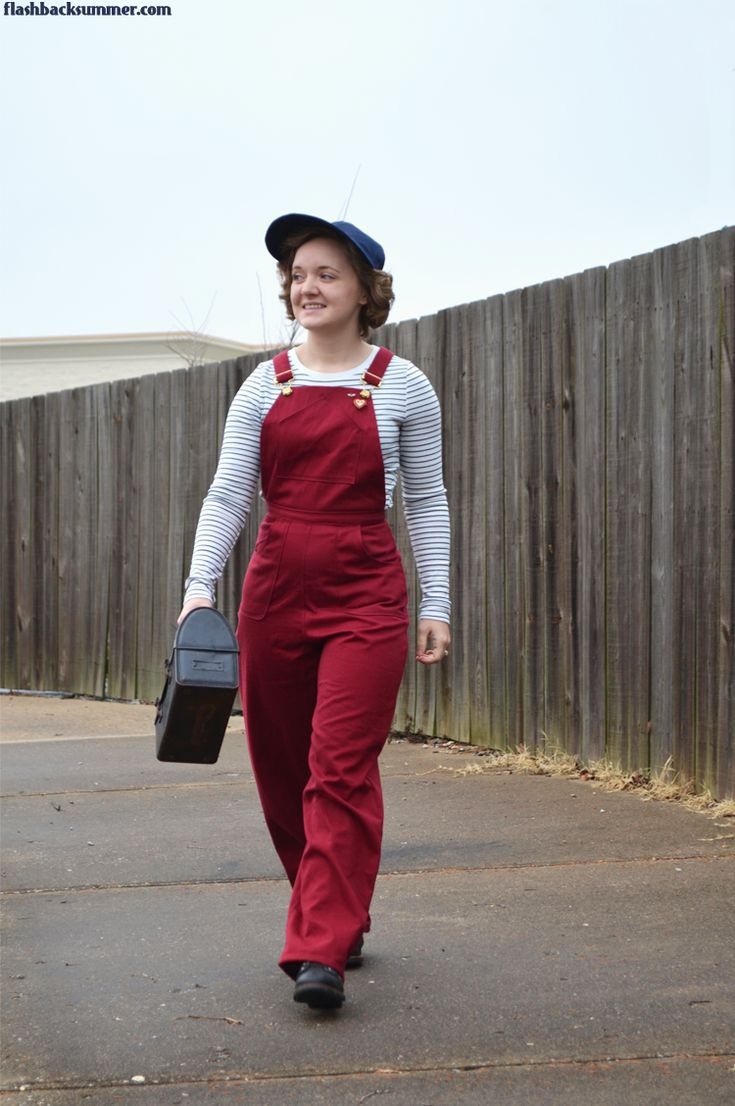 1940s Red Overalls by Flashback Summer