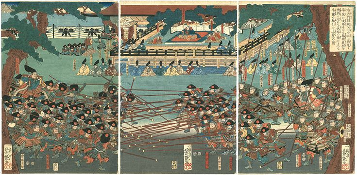 In Preparation to Conquer the Heike at Their Stronghold in Ichinotani, Lord Yoritomo Makes Noriyori and Yoshitsune the Leaders of Two Sides with Long and Short Spears and Observes Their Practice Maneuvers by Yoshitsuya / 右大将頼朝公一の谷に楯篭る平家を攻落さんと範頼義経を両将と定めて長短の槍をもって手練の駈引を上覧の図 芳艶