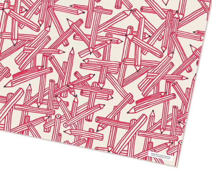"Red pencils  by Giada Montomoli  ""Red pencils"" wrapping paper has been designed by Giada Montomoli. They are perfect to paint ""La vie en rouge"".  The package contains two sheets.   1 sheet can wrap in standard books, dvds, cds, perfumes, smartphones, jewelry, watches, ladybugs plush. Rather not recommended for open umbrellas, encyclopedias, motorcycle helmets, tricycles and skis."