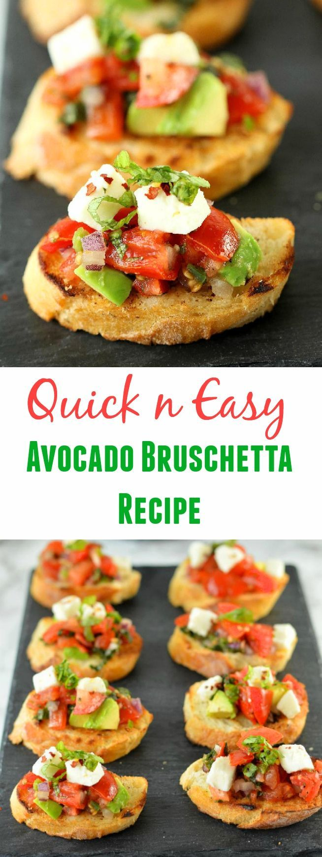 Quick and Easy Avocado Bruschetta Recipe comes together in 15 minutes. A platter full of this finger food makes quite a statement and is a perfect crowd-pleasing recipe for game day!
