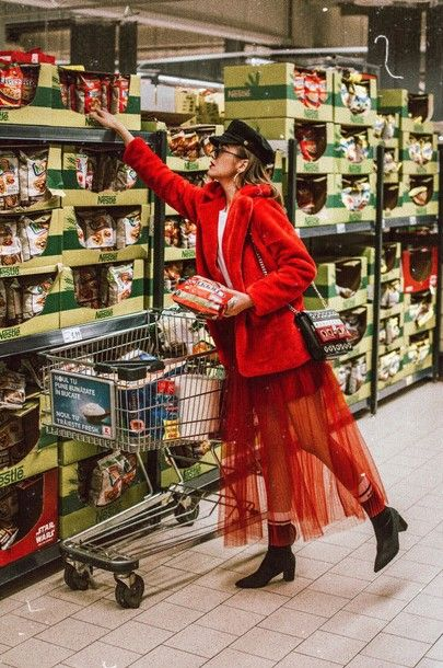 Zara red tulle skirt, maxi, cute all red outfit for winter 2017 and 2018 by andreea birsan, couturezilla, how to wear a red faux fur coat in winter, where to find the best faux fur coats, winter street style, fall outfit ideas, chic ootd, baker boy cap, hat, heeled sock boots in black, striped bag with eyelet details, retro sunglasses, supermarket photo shoot