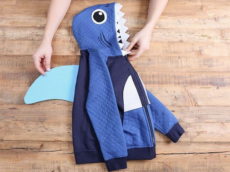 Tutoriales DIY: Cómo hacer un disfraz de tiburón para niños con una chaqueta vía DaWanda.com