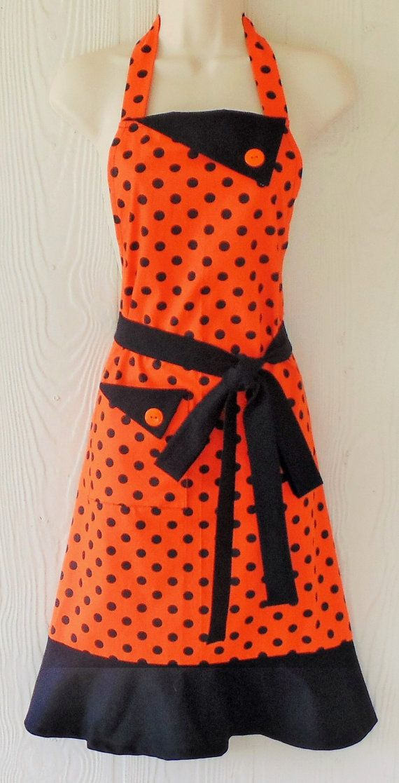 Hey, I found this really awesome Etsy listing at https://www.etsy.com/listing/200088113/orange-halloween-apron-polka-dots-retro