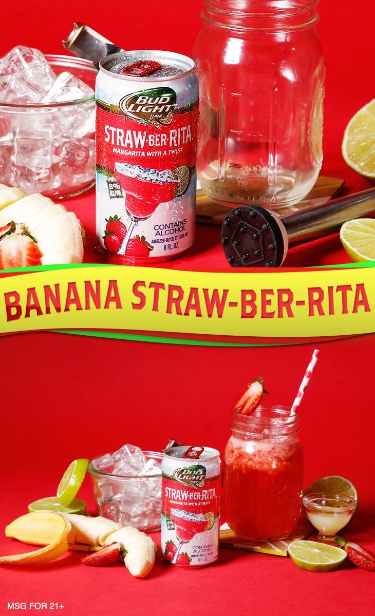 In this recipe, bananas and strawberries go together like ugly sweaters and holiday parties.    Ingredients:  4-6 oz Straw-Ber-Rita 8oz bananas  8oz strawberries  1 oz Lime Juice  Garnish:  Strawberry   Directions: 1. Muddle banana and strawberry slices in the bottom of a glass. 2. Add ice and Straw-Ber-Rita.  3. Garnish and serve.