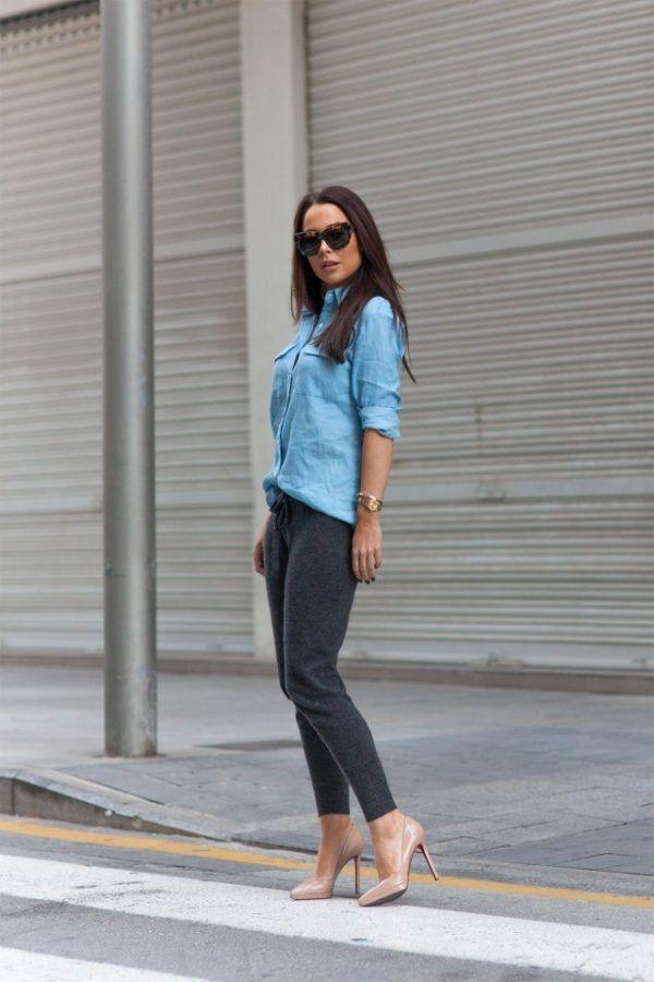 53e6a0e50859 Johanna Olsson rocks this stylish combo of a light blue linen shirt ...