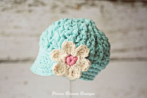 Robin's Egg Blue Crochet Girl's Hats, Newsboy Hat for Girls, Crochet Beanie hat with Visor,  5T to Preteen on Etsy, $36.14 CAD