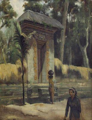 """Didepan pura"" by Dullah, Size: 68cm x 54cm, Medium: Oil on canvas, Year: 1969"