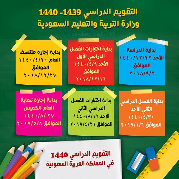 تحميل التقويم الدراسي ١٤٤٠ وزارة التربية والتعليم السعودية التقويم الدراسي الجديد 2019 Kids Education Academic Calendar Education