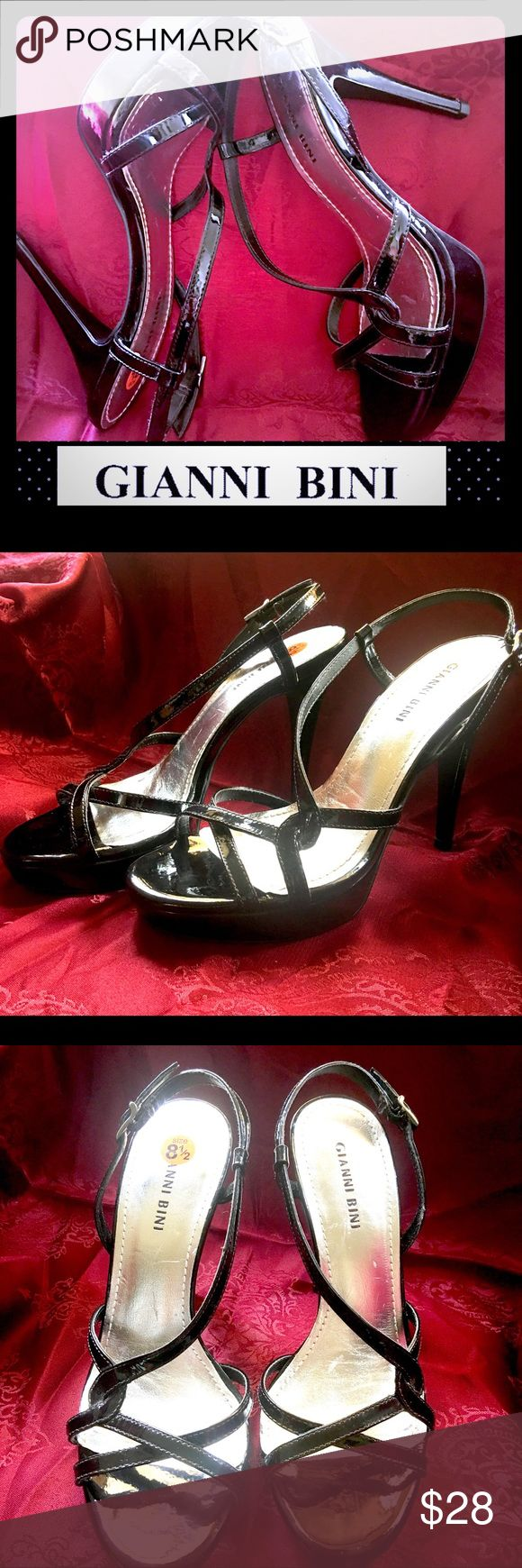 Gianni Bini Strappy Patent Leather Stilettos 8.5M Glamorous Gianni Bini black patent leather Stilettos, size 8.5M. Measures 5 inches from floor to include the platform. The inner soles are silver. Other than a few small scuffs, this stunning pair of heels is in excellent condition. There is hardly any evidence of use on the soles. Feel free to ask any questions before purchasing. Thank you!🤗 Gianni Bini Shoes Heels
