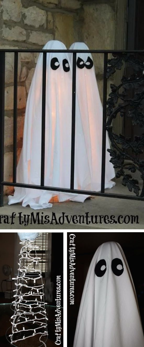 DIY Halloween Decor for the front porch! Super easy and cheap illuminated ghosts using tomato cages and a sheet.