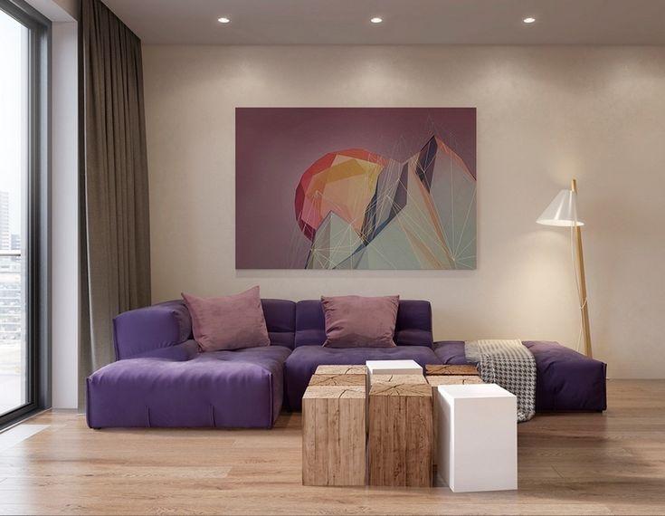 tableau moderne grand format en tons pastel formes g om triques art collage inspiration. Black Bedroom Furniture Sets. Home Design Ideas