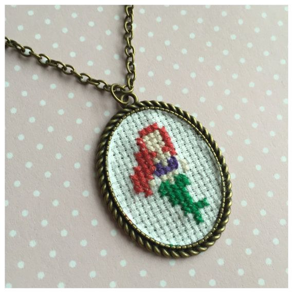 Disney cross stitch necklaces princess by BuckleberryFerry