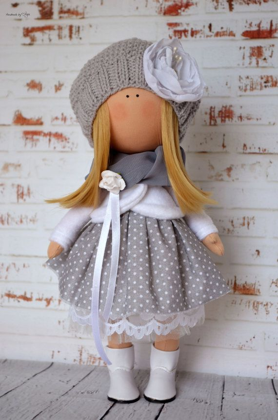 Fabric doll Interior doll Home doll Art doll handmade grey white colors Tilda…