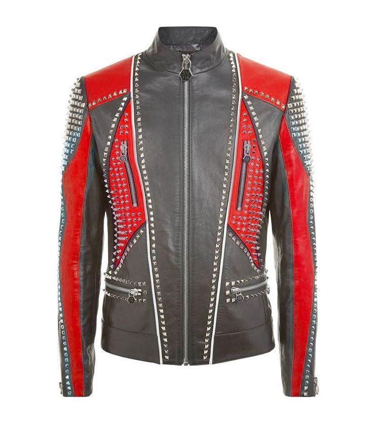 Custom Made Men Philipp Plein Full Studded Leather jacket Black Red All Sizes - Outerwear