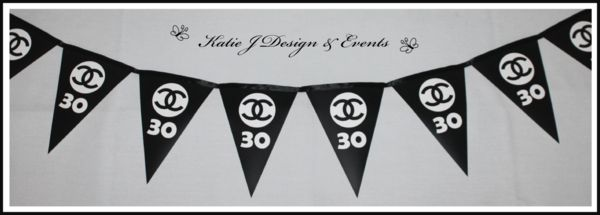 Pennant Banner Bunting Chanel Party Decorations #Chanel #Cocochanel #18th #21st #30th #HensNight #BacheloretteParty #ladies #PartyDecorations #GirlsNightOut #Hens #Night #Bachelorette #Divorce #Birthday #Bunting #Party #Decorations #Ideas #Banners #Cupcakes #WallDisplay #Wine #Labels #PartyBags #Invites #KatieJDesignAndEvents #Personalised #Creative