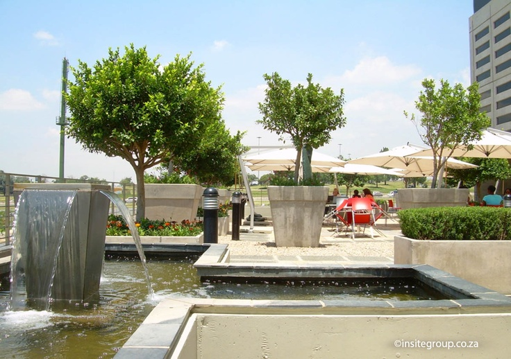 Water feature design at Nashua offices, South Africa, by Insite landscape architects.