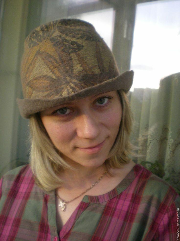 """Купить Нуно-войлочная шляпка """"Осенний блюз"""" - комбинированный, рисунок, шляпка женская, женская шляпка"""