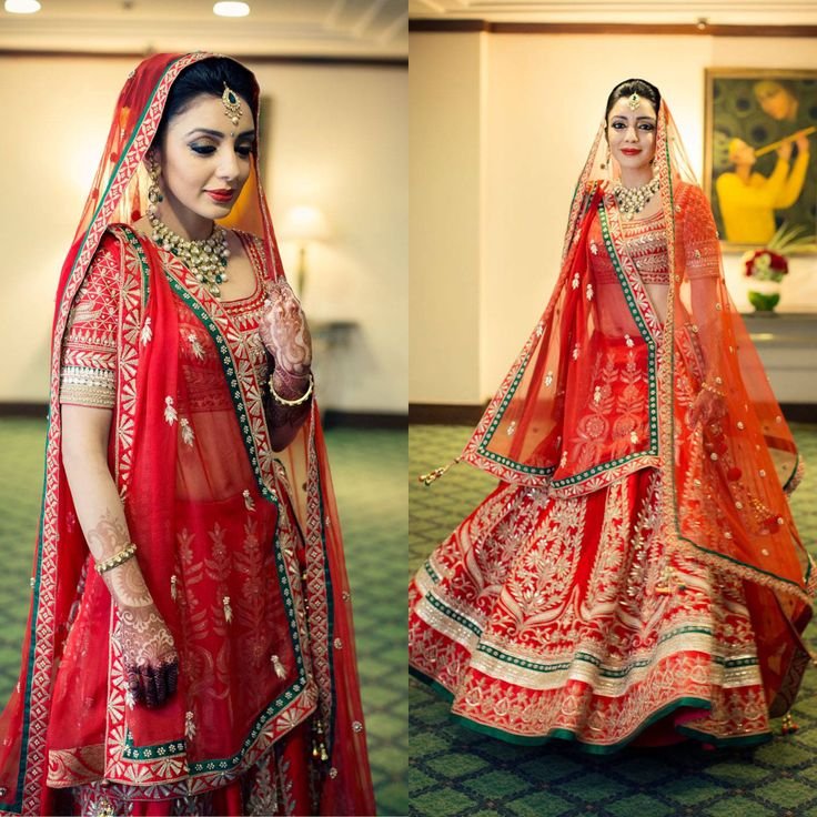 The bride, Ayesha Dutta, looks stunning in a red gotapatti embroidered lehenga by Anitadongre.