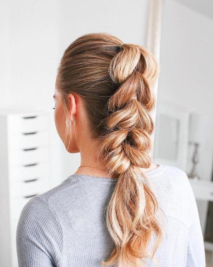 Blonde Hair Grey Blouse Ponytail Braid Styles For Girls White Background In 2020 Twist Braid Hairstyles Braided Hairstyles Hair Styles