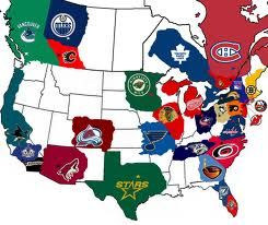This is a picture of a map full of NHL teams. I like this photo because I want to learn about hockey.