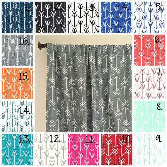 Arrow Curtain Panel Set Navy Blue Arrow Curtain Panels Coral Drapes Gray Arrow Curtain Panels Nursery Curtains Mint Curtains Black and White