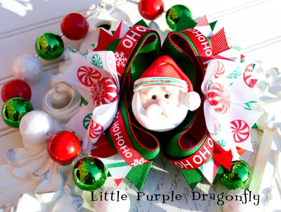 Santa Christmas Boutique Custom Hair Bow by LittlePurpleDragonfl, $32.99