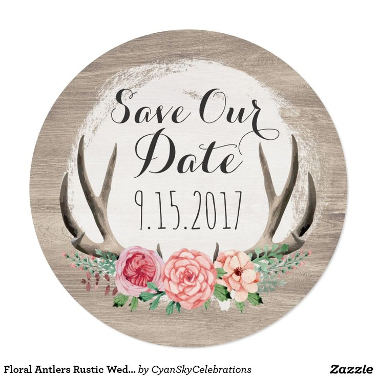 """Floral Antlers Rustic Wedding 