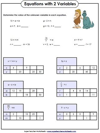 Basics algebra worksheets
