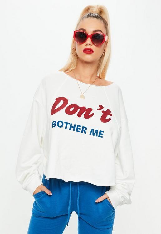 746efe95dbda White Dont Bother Me Slogan Raw Hem Sweatshirt Cami Crop Top, Long Sleeve Crop  Top