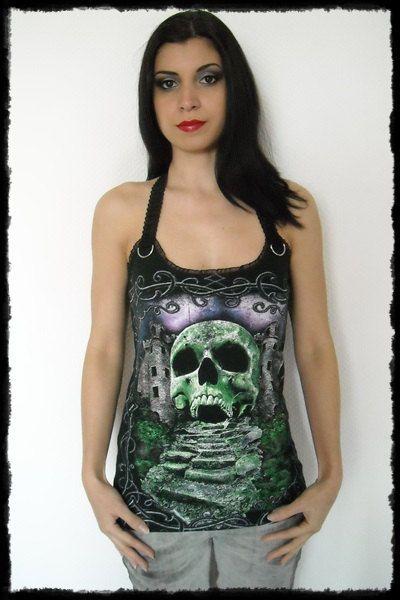 Castle Skull Horror Shirt Halter top S M