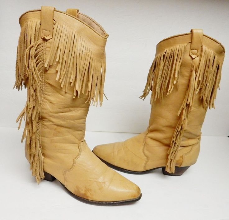Dingo Boots Leather Fringe Western Cowboy Distressed Women's 7 M Vintage #Dingo #WesternBoots #Alloccasion