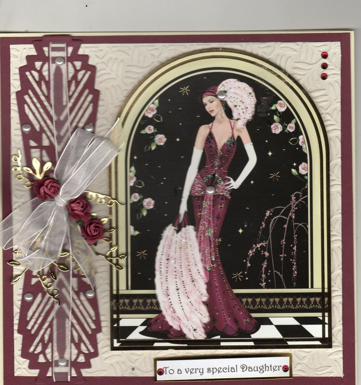 Daughter Birthday Card using Hunkydory art deco lady for the topper.  The side panel is cut using the Tonic art deco set, the gold leaves are tattered lace.