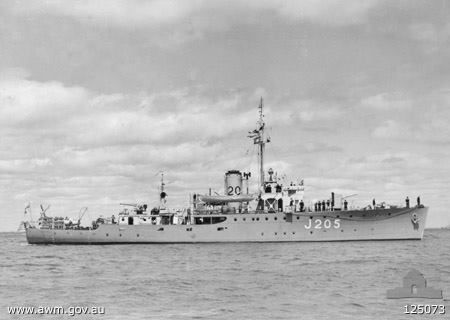 "Royal Australian Navy - ""HMAS TOWNSVILLE"" (J 205) was a (186') Bathurst Class Corvette/Minesweeper – Commissioned: 19 December 1941 – Crew: 85 Officers and Enlisted – Armament: 1 x 4 Inch (102mm) Gun, 2 x 20mm Oerlikon AA Guns, Machine Guns and Depth Charges and Throwers or Minesweeping Equipment Depending on the Planed Operations – Decommissioned: 5 August 1946  and Sold for Scrap: 1956"