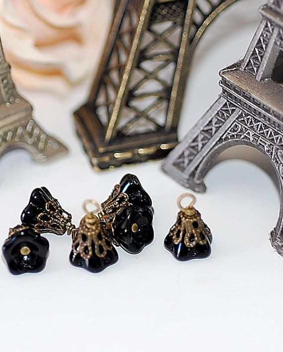 Black Jet Blossom  bead glass drops dangles by CRUSHjewelrysupply