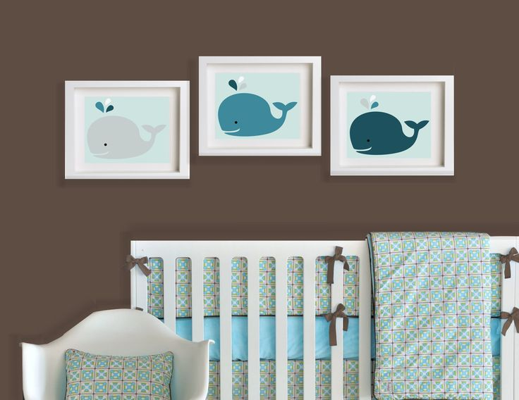 Set of Three Baby Whales 10x8 Customize for by BundleBabyNursery, $45.00