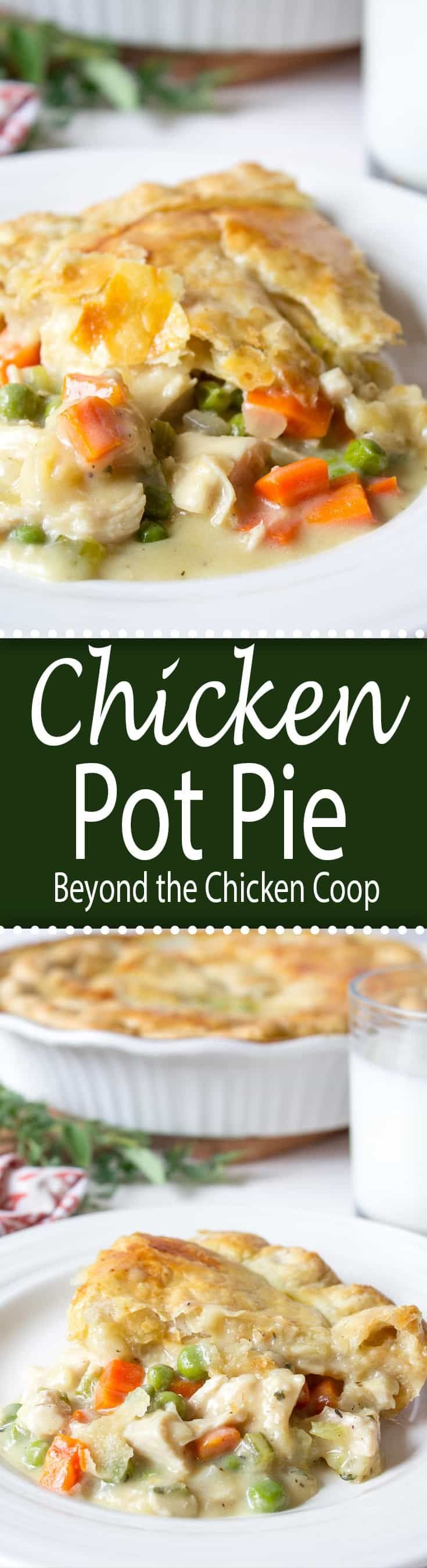 Homemade Chicken Pot Pie topped with a puff pastry crust. via @Beyondthecoop