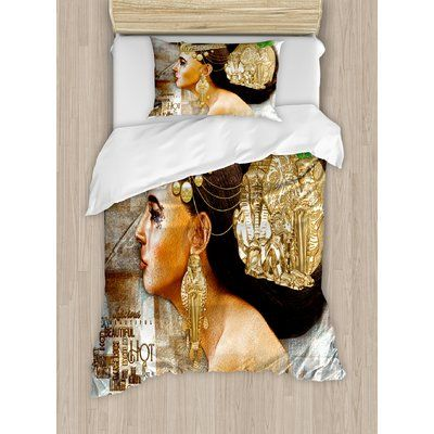 Ambesonne Egyptian Woman Queen Cleopatra Profile Historical Art Scene with Pyramid Sphinx Jewelry Duvet Set Size: